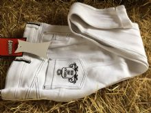 LOVESON WHITE SHOW JODHPURS WITH BLACK STITCHING